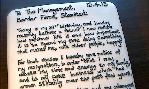 Chris Holmes' resignation cake.
